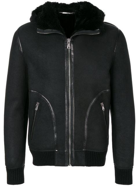 Dolce & Gabbana Hooded Leather Jacket In Multi