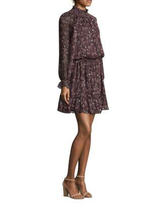 Shoshanna Silk Blouson Dress In Aubergine Multi