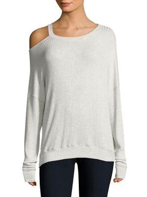 Splendid One-Shoulder Sweatshirt In Heather Ash