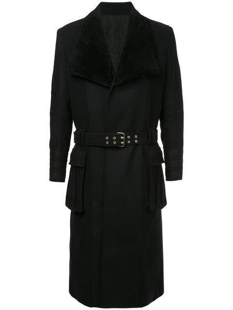 Balmain Black Belted Coat