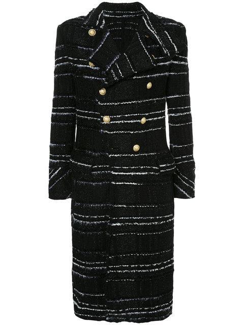 Balmain Striped Double-Breasted Coat