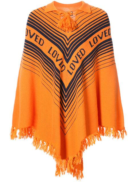 Gucci Loved Knitted Poncho In Yellow & Orange