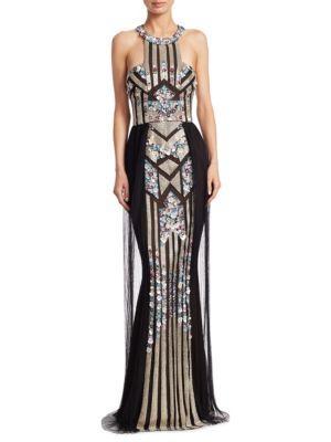 Marchesa Notte Art Deco Sequin Mermaid Gown In Black Multi