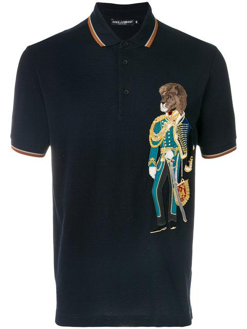 Dolce & Gabbana Lion Soldier Patch Polo Shirt