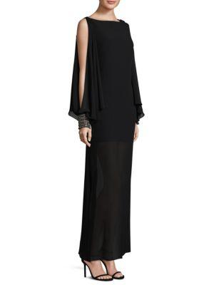 Laundry By Shelli Segal Chiffon Beaded Cape Gown In Black