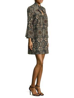 Shoshanna Printed Tie-Neck Silk Dress In Moss Multi