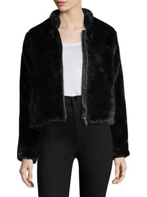 Free People Furry Faux Fur Bomber Jacket In Black