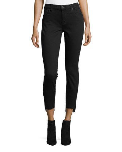 7 For All Mankind Ankle-Skinny Jeans With Hem Splits, Black
