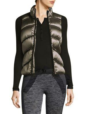 Blanc Noir Quilted Puffer Vest In Grey Iridescent