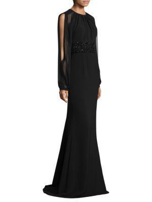 Carmen Marc Valvo Open-Sleeve Gown In Black
