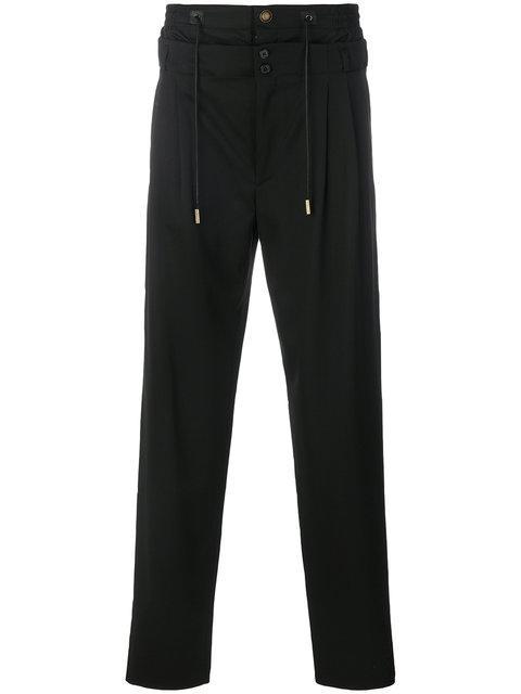 Saint Laurent Layered Drawstring Trousers - Black