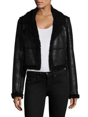 Ella Moss Claudine Shearling Jacket In Black