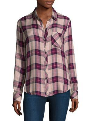 Rails Hunter Plaid Button-Down Shirt In Sands Navy Port