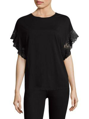 Ag Cotton Lace Tee In True Black