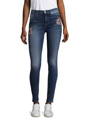 7 For All Mankind Floral Needle Point Skinny Jeans In Liberty