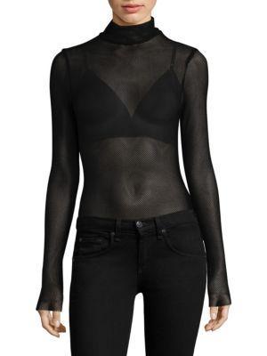 Kendall + Kylie Mesh Bodysuit In Black