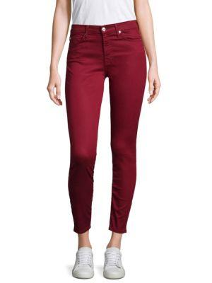 7 For All Mankind Skinny Ankle Pants In Oxblood