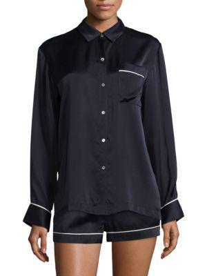 Asceno Luxe Silk Pajama Top In Midnight