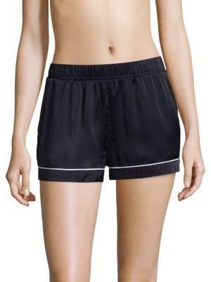 Asceno Luxe Silk Pajama Shorts In Midnight