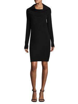Dkny Rib Cowlneck Dress In Black