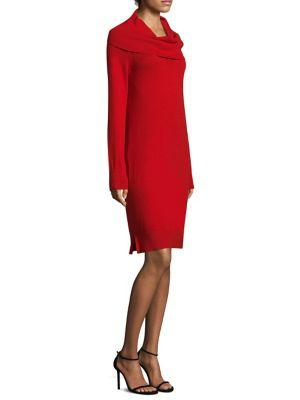 Dkny Rib Cowlneck Dress In Holiday Red