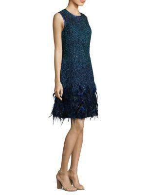 Elie Tahari Anabelle Embellished Dress In Admiral Blue