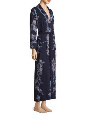 Jonquil Paisley Self-Tie Robe In Navy Blue Print