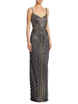 Theia Deco Beaded Gown In Gunmetal