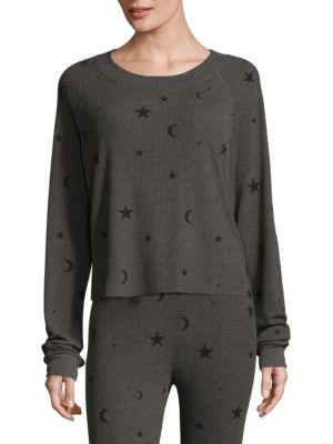 Wildfox Planetarium Cropped Pullover In Dirty Black