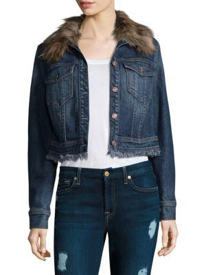 7 For All Mankind Cropped Button-Front Boyfriend Denim Jacket W/ Faux Fur In Montreal2