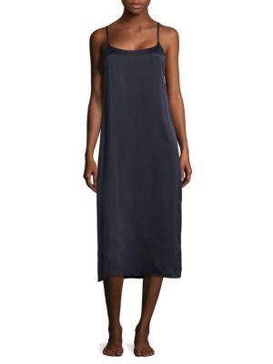 Asceno Smooth Silk Long Gown In Midnight