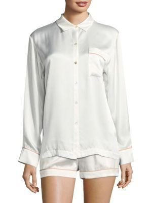 Asceno Edgy Silk Pajama Top In Rose Edged