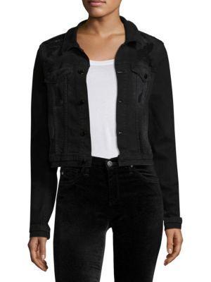 Cotton Citizen Distressed Denim Jacket In Washed Black