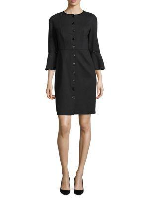 Elie Tahari Oceana Bell Sleeve Dress In Charcoal