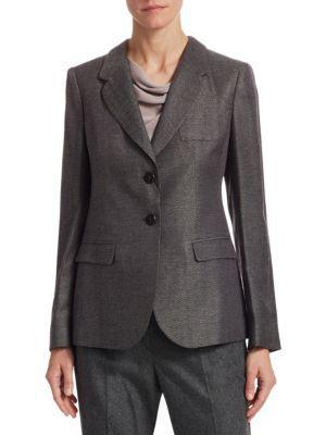 Emporio Armani Mini Herringbone Jacket In Black
