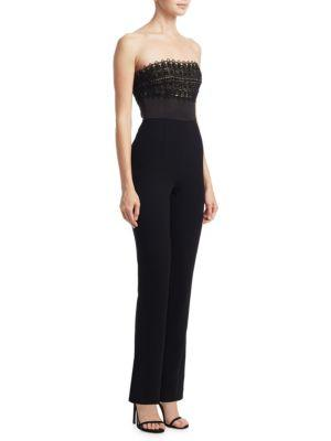 Ml Monique Lhuillier Strapless Embroidered Jumpsuit In Black