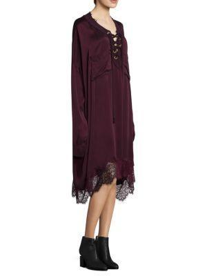 Faith Connexion Lace Trim Shirt Dress In Burgundy