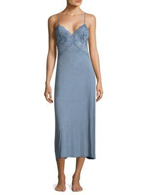 Jonquil Lace V-Neck Nightgown In Blue
