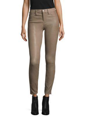 J Brand Mid-Rise Skinny Leather Pants In Leaden