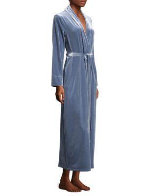 Jonquil Velvet Self-Tie Robe In Steal Blue