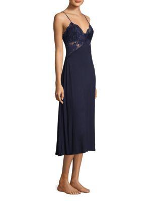 Jonquil Lace V-Neck Nightgown In Navy