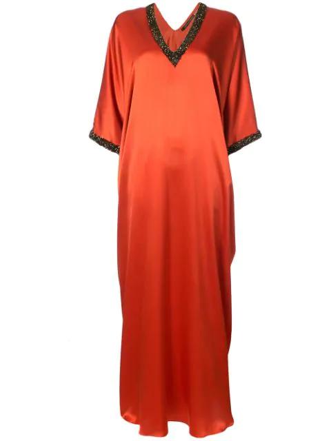 Natori Embellished Silk Cocoon Kaftan In Orange