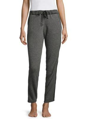 Josie Natori Ribbed Cashmere Jogger Pants In Charcoal