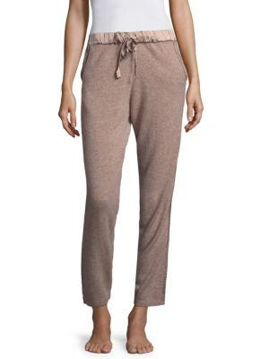 Josie Natori Ribbed Cashmere Jogger Pants In Taupe