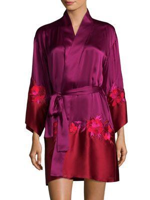 Josie Natori Isabel Silk Wrap Robe In Magenta