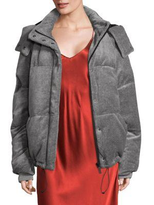 Kendall + Kylie Velour Puffer Jacket In Medium Heather Grey