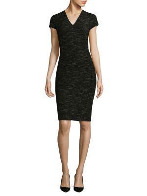 L.K. Bennett Joyce Tweed Sheath Dress In Black Cream Tweed