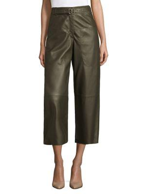 L.K. Bennett Flared Leather Trousers In Forest Green