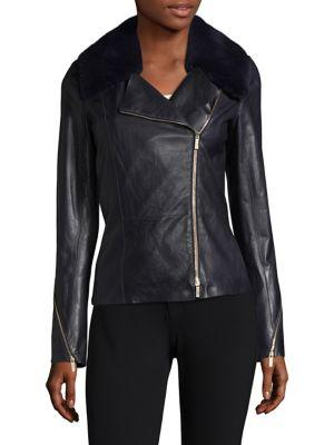 Lafayette 148 Kimbry Leather Jacket With Removable Genuine Rex Rabbit Fur Collar In Ink