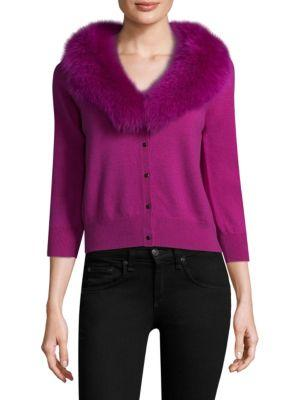 Milly Rabbit Fur Collar Cardigan In Pink